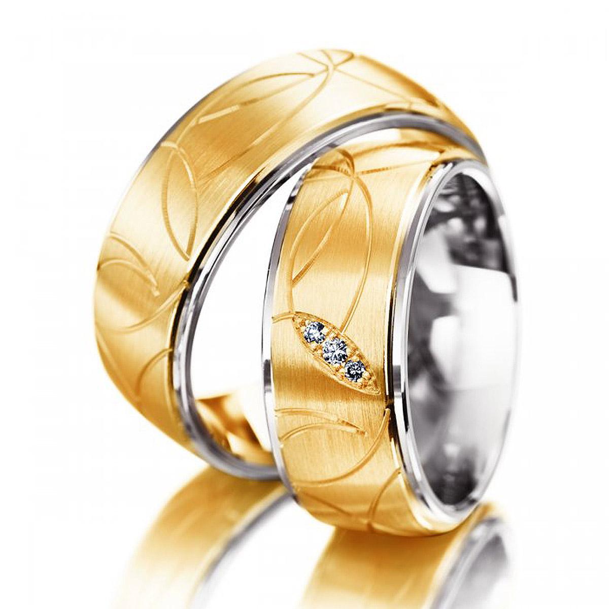 Alian�a Riscada de Noivado ou Casamento em Ouro Amarelo