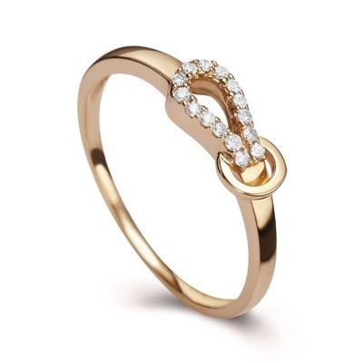Anel N� com Diamantes em Ouro 18k