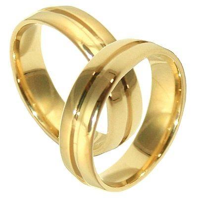 Alian�a Anat�mica Abaulada de Casamento e Noivado em Ouro 18k