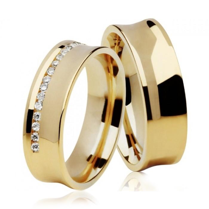 Aliança Côncava de Casamento e Noivado em Ouro 18k