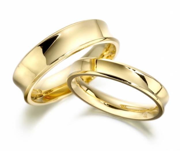 Alian�a de Casamento C�ncava em Ouro