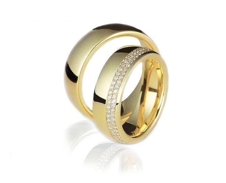 Aliança de Casamento Cravação Duas Linhas em ouro