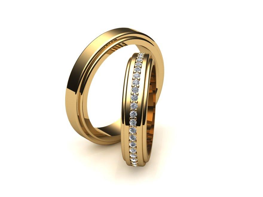 Alian�a de Casamento e Noivado Filetes com Diamantes