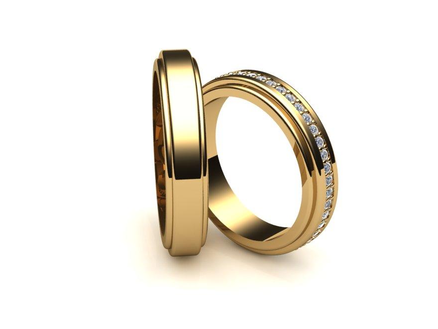 Aliança de Casamento e Noivado Filetes com Diamantes