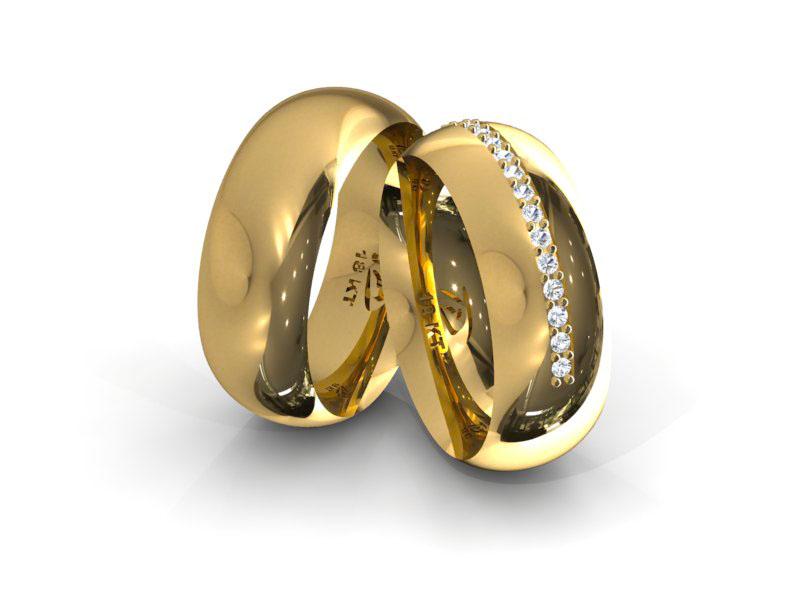 Aliança de Casamento e Noivado Meio Dedo com Diamantes
