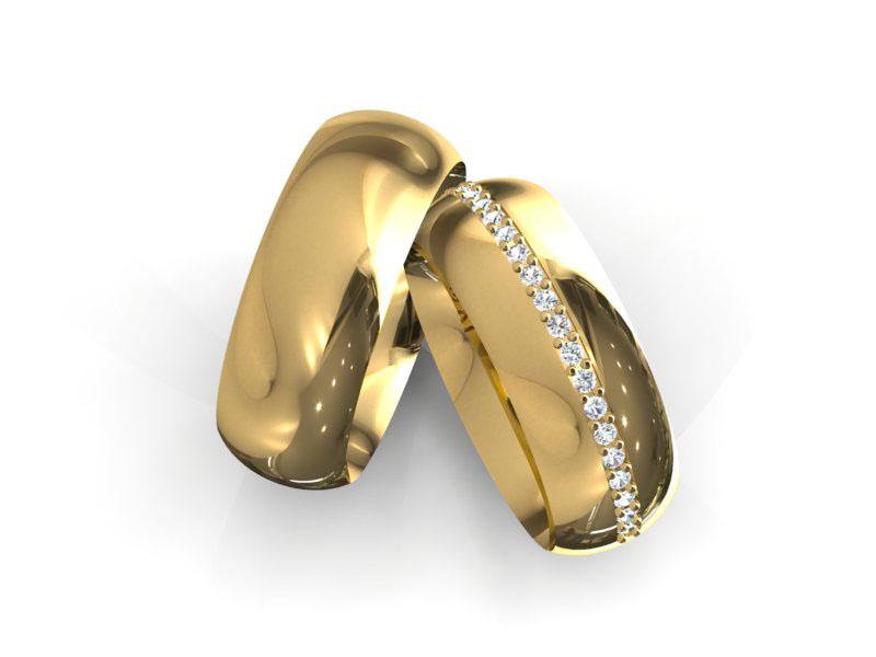 Alian�a de Casamento e Noivado Meio Dedo com Diamantes