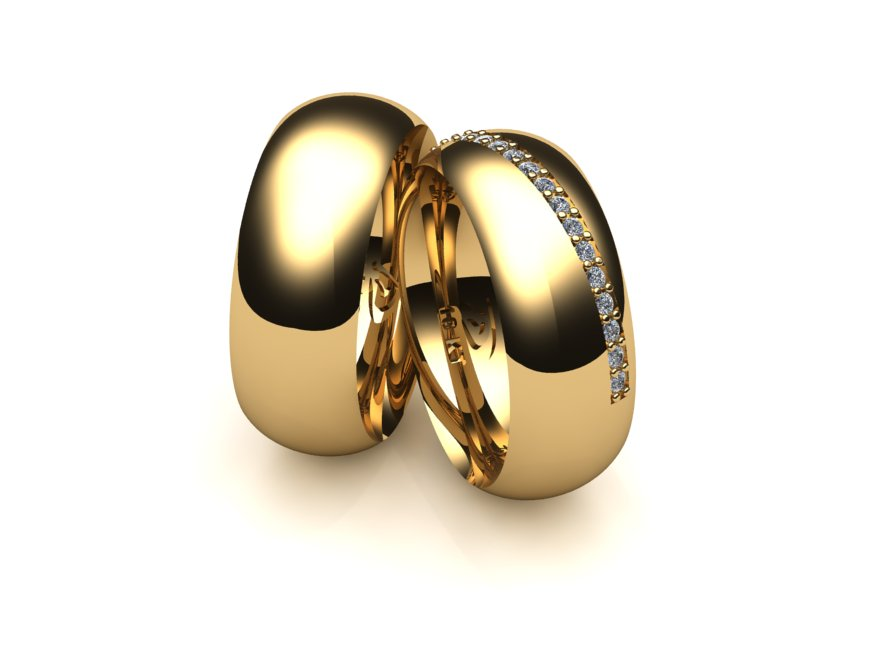 Alian�a Sobreposta Lateral de Casamento e Noivado com Diamantes