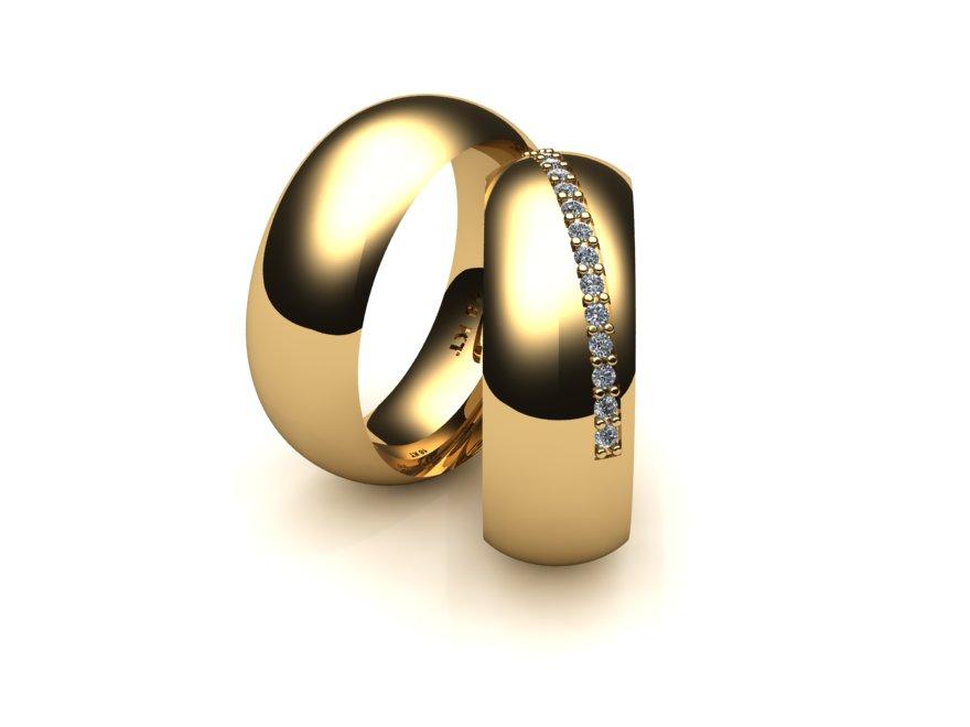 Aliança Sobreposta Lateral de Casamento e Noivado com Diamantes
