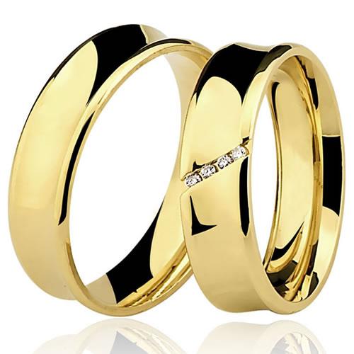 Alian�a de Casamento e Noivado C�ncava 18k