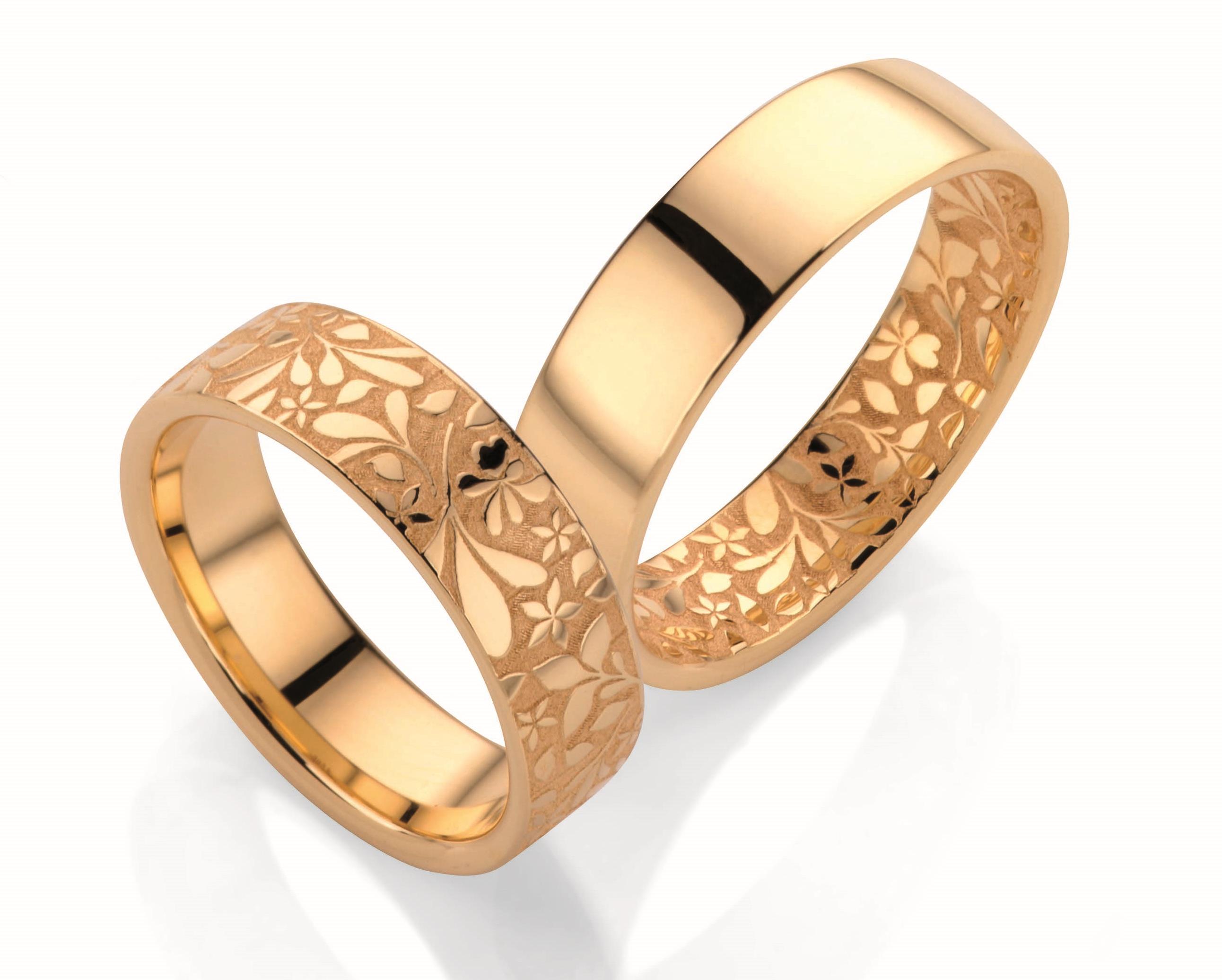 Aliança de Casamento Flores Verão em Ouro