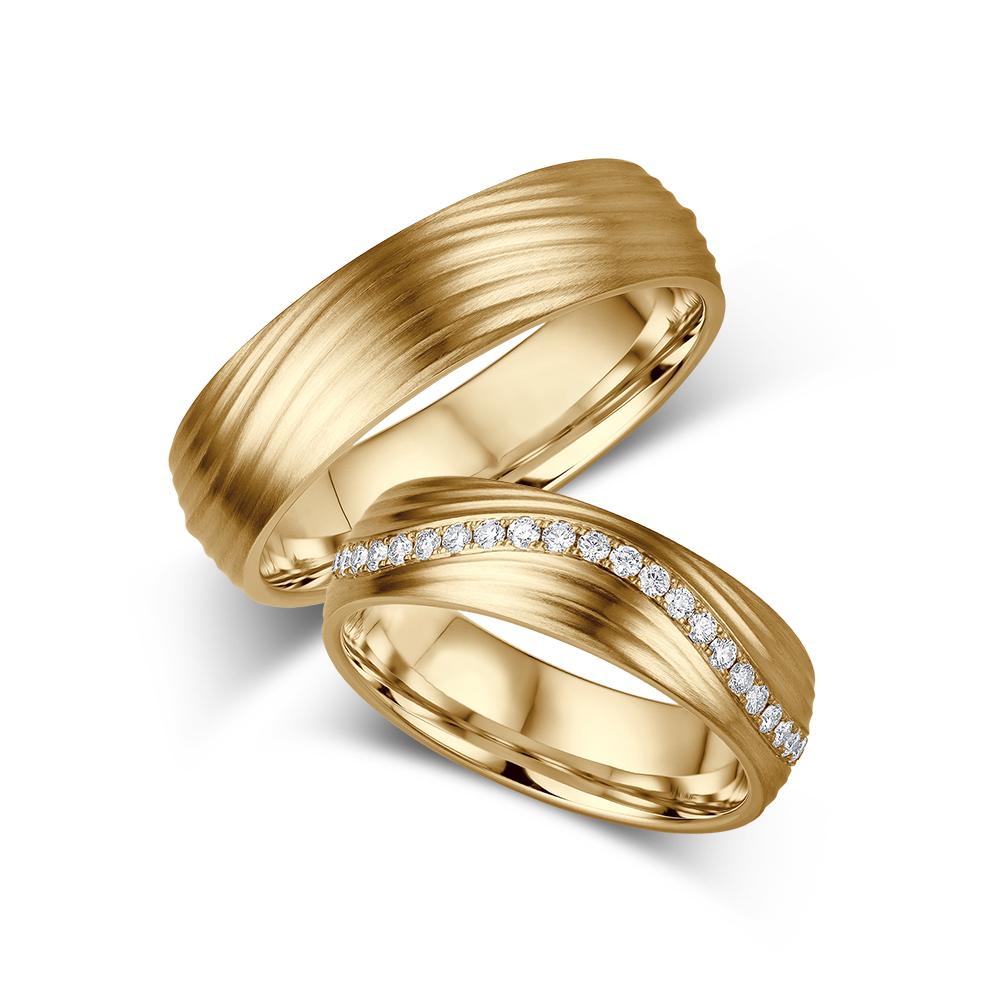 Aliança de Casamento Frisos com Diamantes