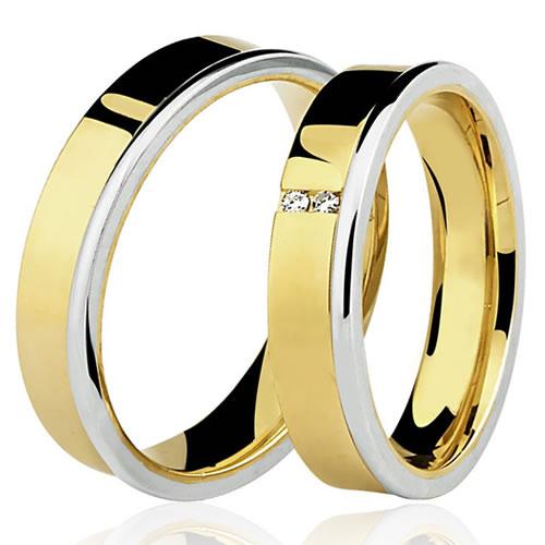 Aliança de Casamento ou Noivado em Ouro Quadrada