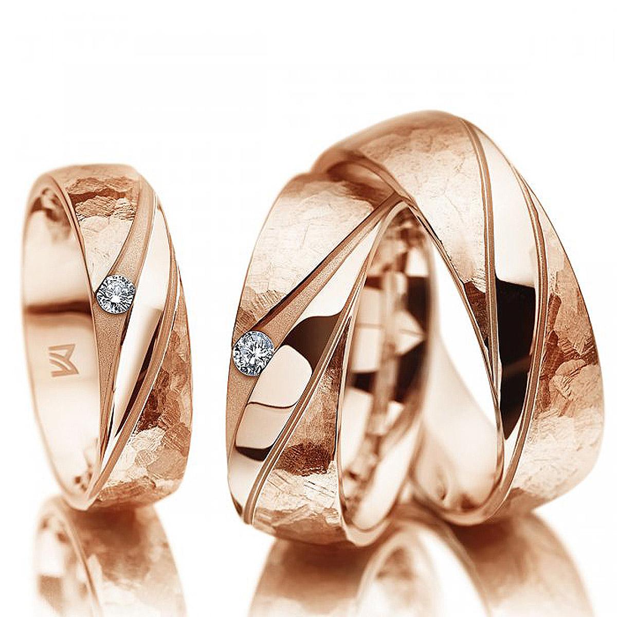 Alian�a de Casamento Tec em Ouro 18k Rose