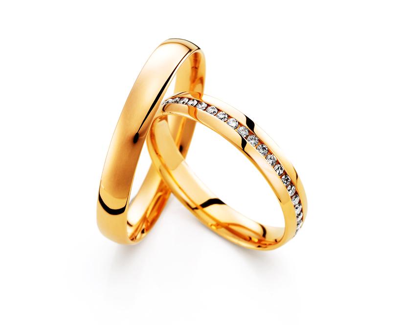 Aliança de Diamantes Tradicional Amarela