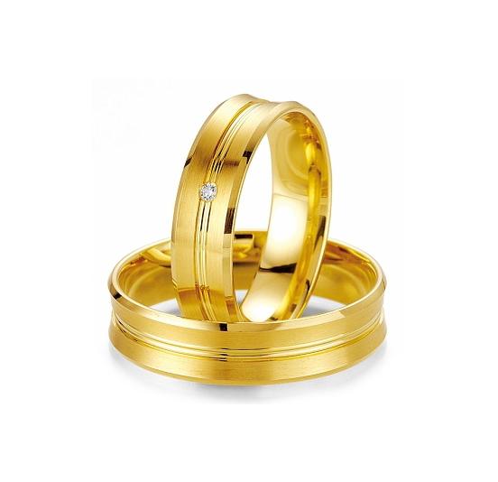 Aliança de Noivado Amarela com Friso em Ouro