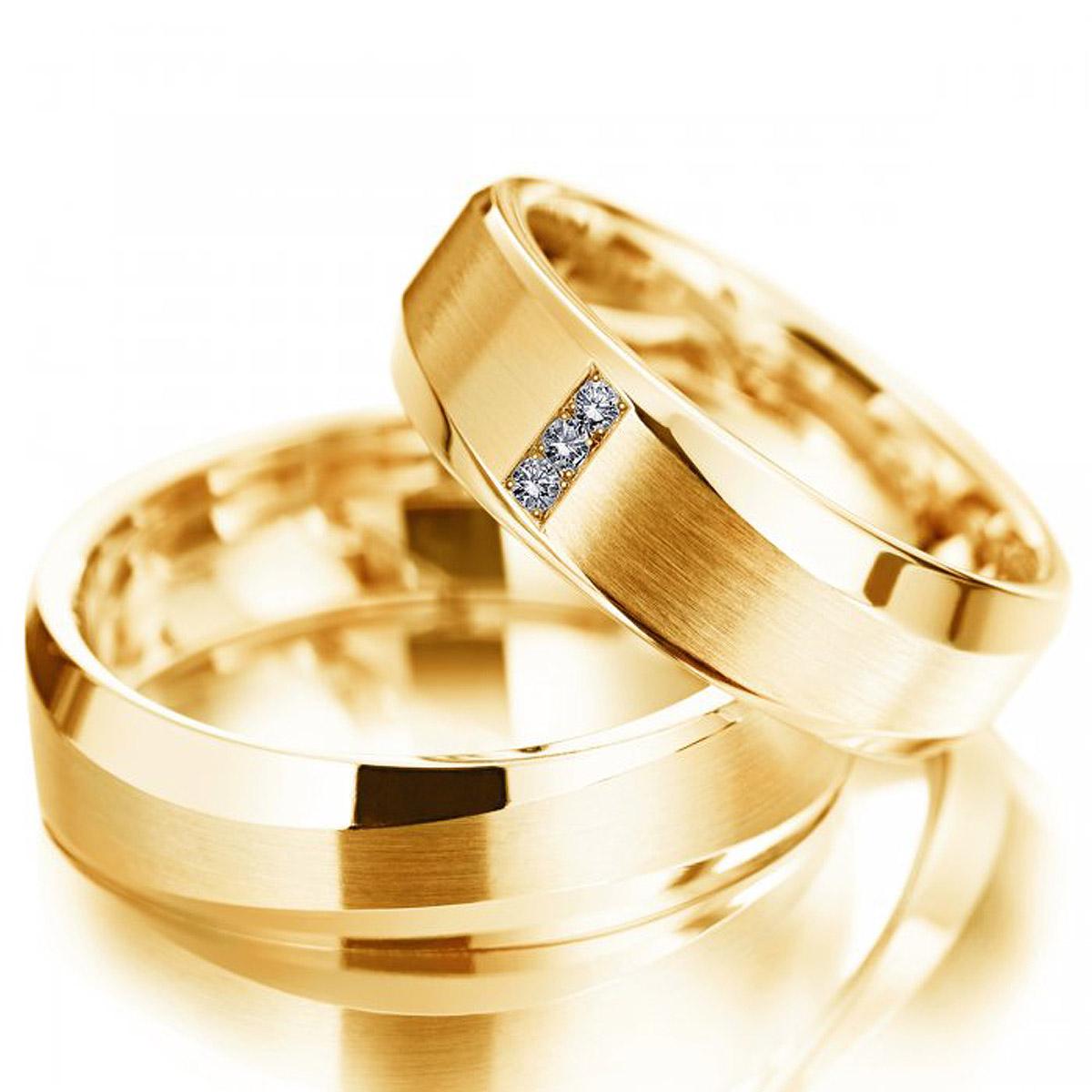 Alian�a de Noivado Chanfrada em Ouro