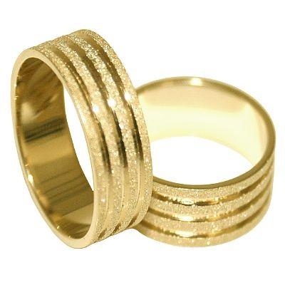 Aliança de Noivado e Casamento 3 Riscos Baixo Relevo