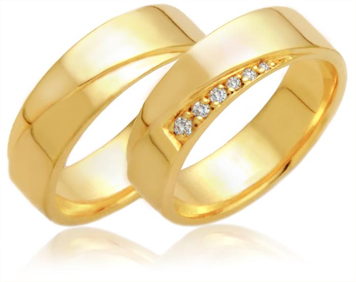 Alian�a de Noivado e Casamento Cruzada em Ouro 18k