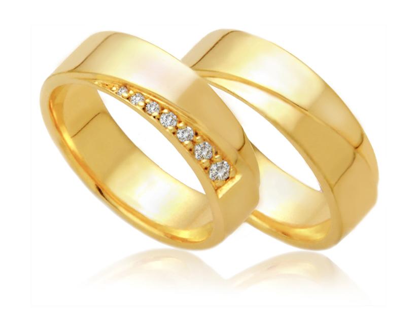 Aliança de Noivado e Casamento Roses Amarela
