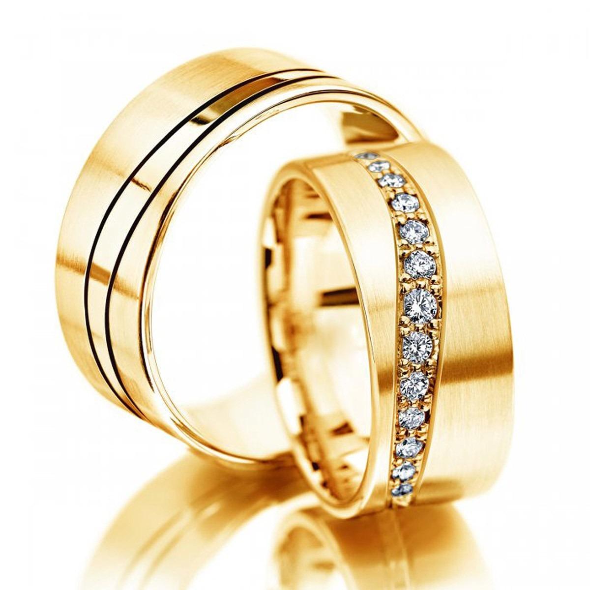 Aliança de Noivado e Casamento Super Luxo em Ouro 18k