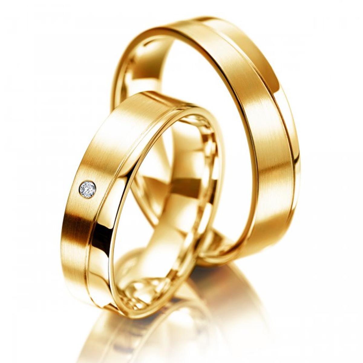 Aliança de Noivado Quadrada com Diamantes