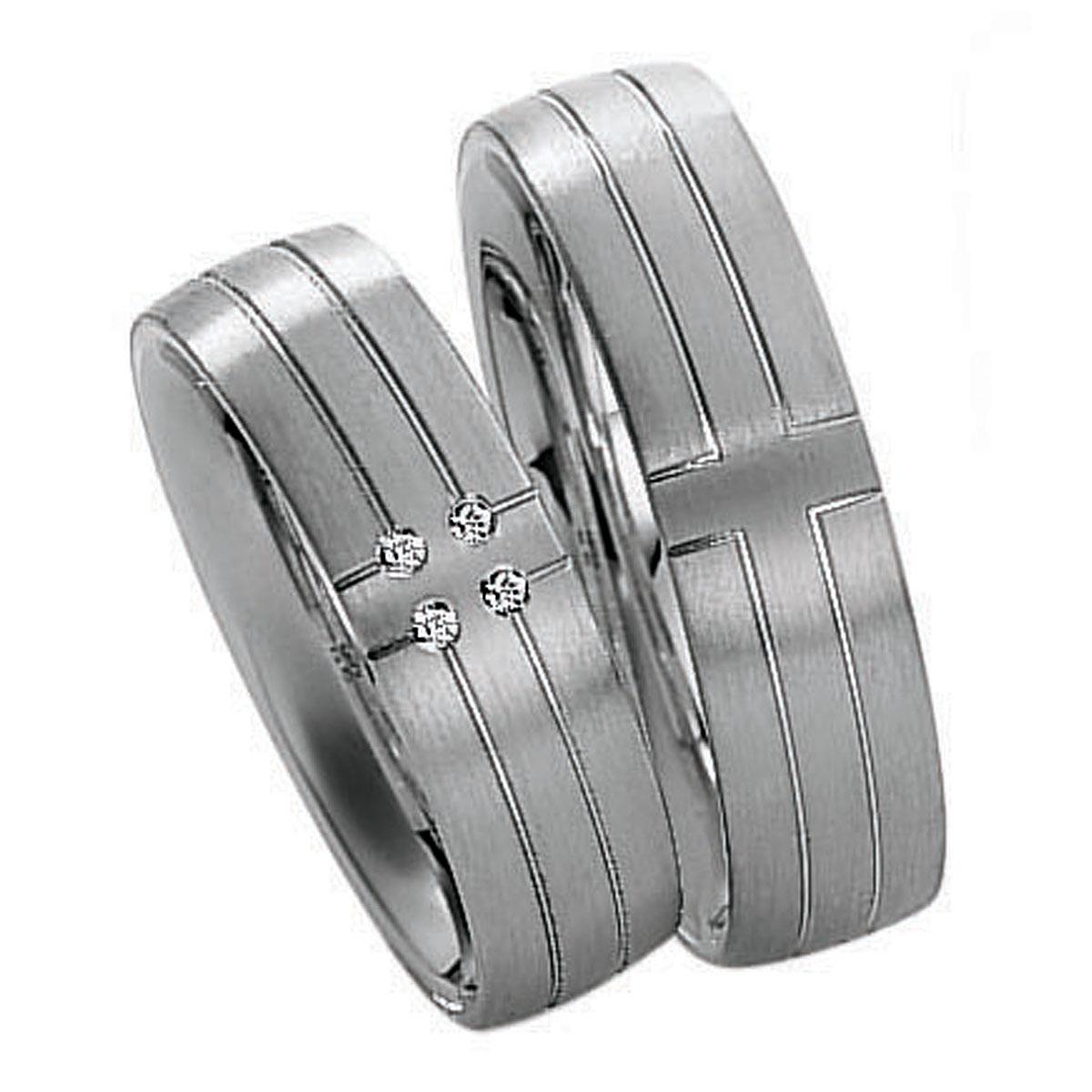 Aliança Efeito Cruz com 4 Pedras de Diamantes para Noivado ou Casamento