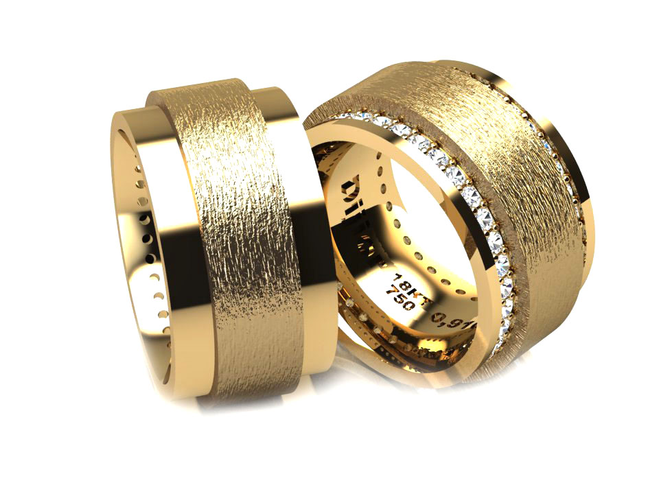 Alian�a em ouro Altrele de Noivado ou Casamento com Diamantes