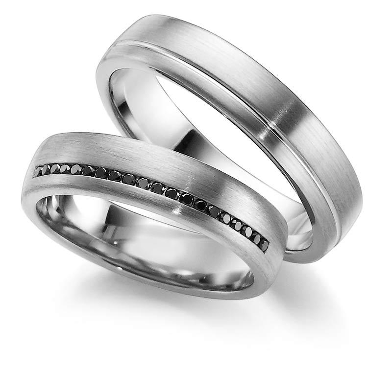 Aliança em Ouro Branco Pedras Pretas para Noivado e Casamento