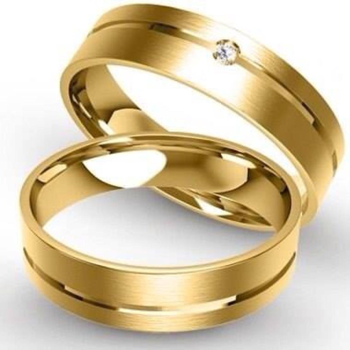 Alian�a em Ouro com Friso de Noivado e Casamento