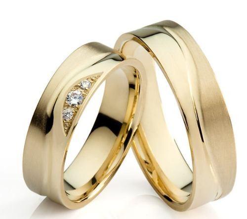 Aliança Fios com 3 Diamantes de Noivado e Casamento