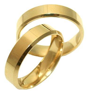 Aliança Lisa Quadrada de Casamento e Noivado