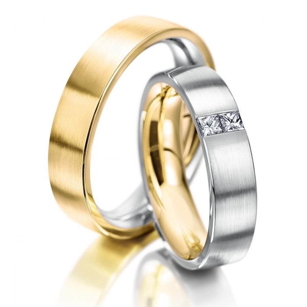 Alian�a Quadrada Com diamantes Quadrados de Noivado e Casamento
