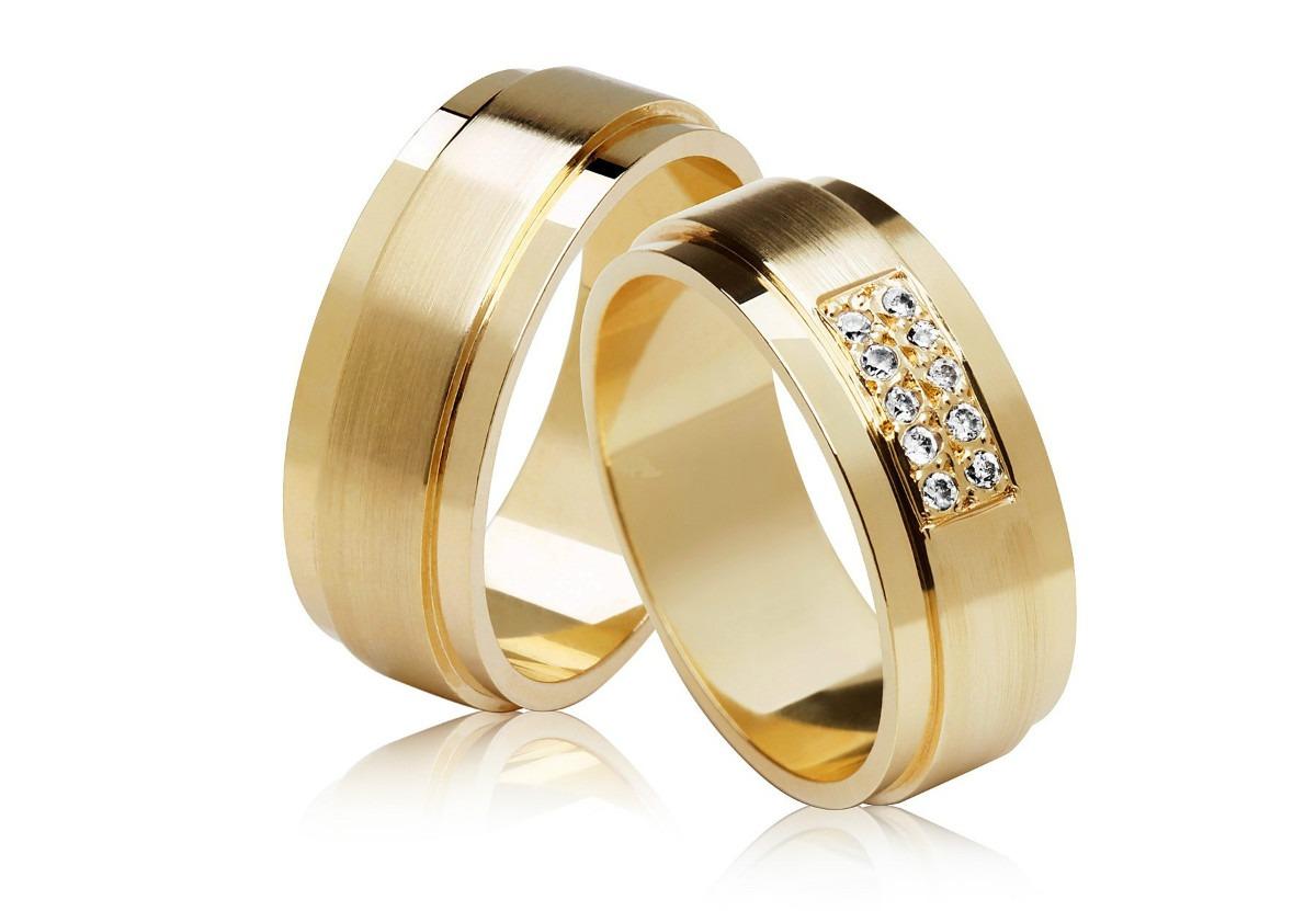 Aliança Quadrada com Relevo de Noivado e Casamento