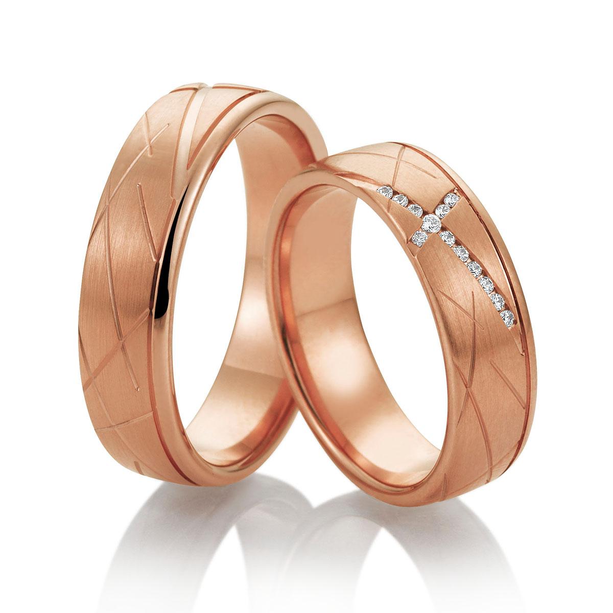 Aliança Rose de Noivado e Casamento Cruzada com Diamantes