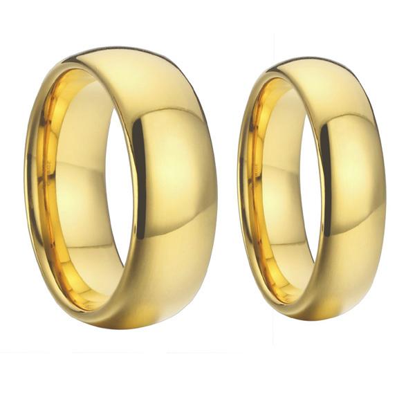 Alian�a Tradicional Abaulada de Noivado e Casamento em Ouro 18k
