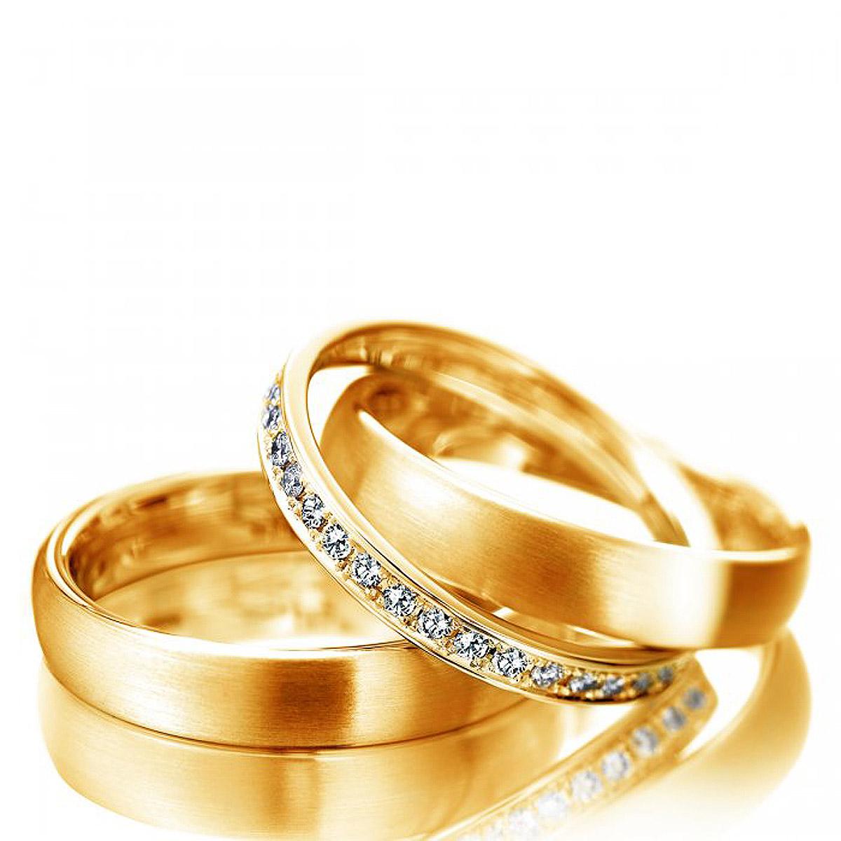 Aliança Tradicional Fina Solta com Diamantes de Casamento e Noivado