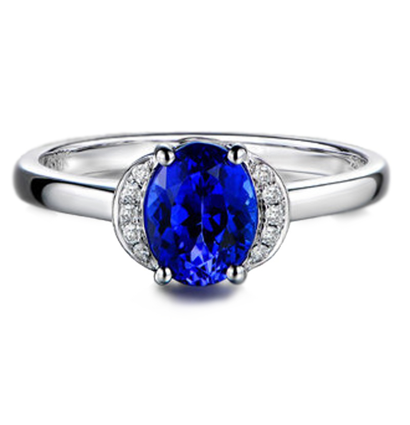 Anel ABBA Safira Azul com Diamantes
