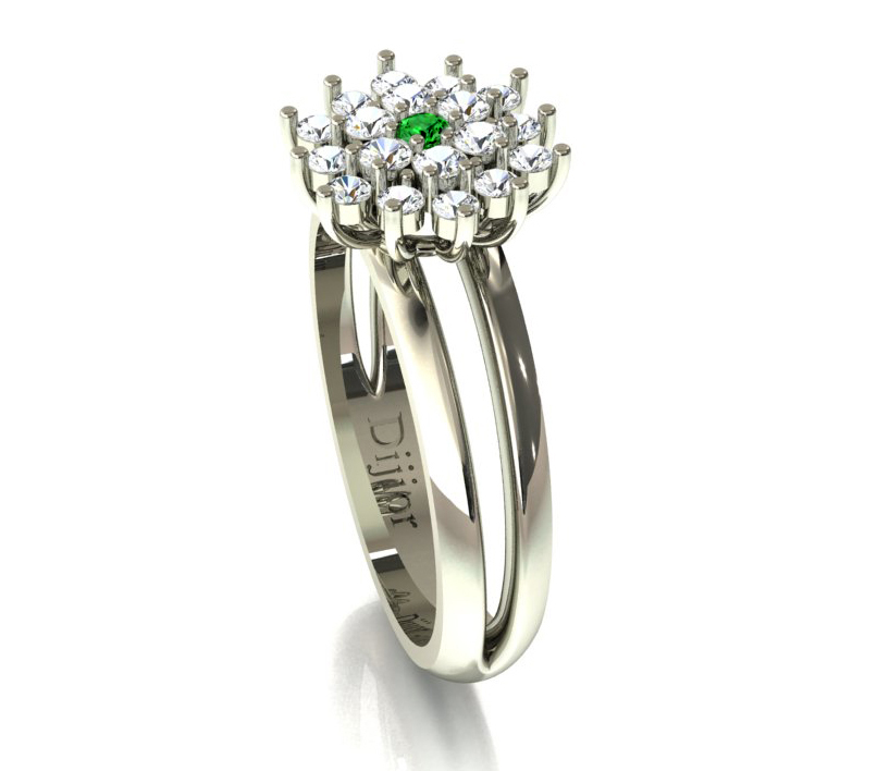 Anel Brilho de Esmeralda com Diamantes