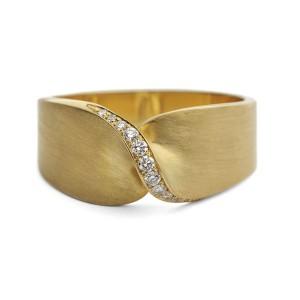 Anel Cabeça Torcida com Diamantes em Ouro