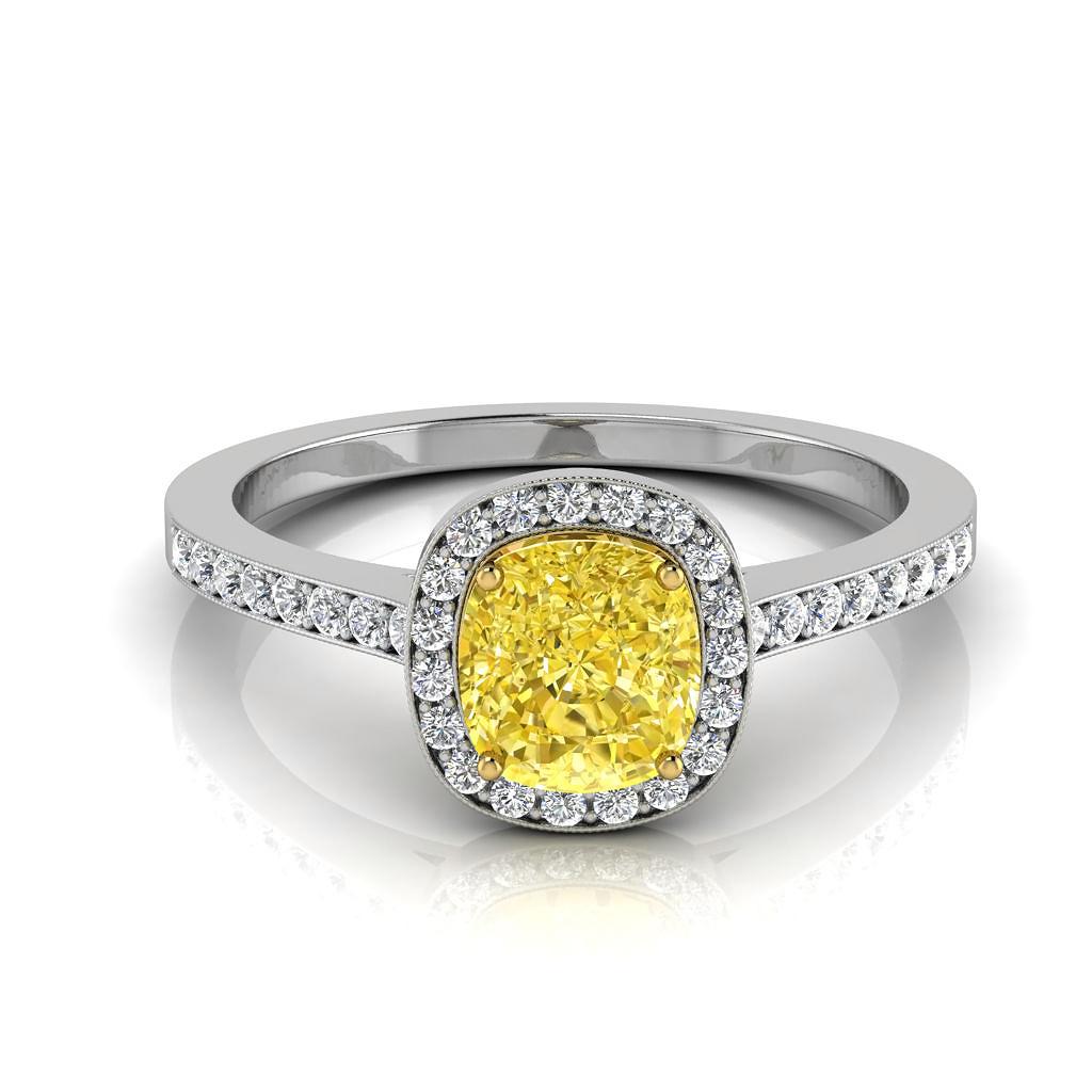 Anel Citrino Amarelo com Diamantes de Noivado