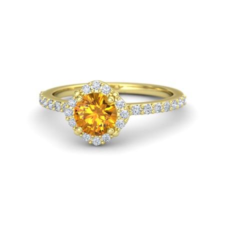 Anel Citrino Amarelo com Diamantes