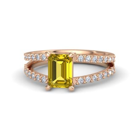 Anel com Aro em V com Citrino Amarelo e Diamantes