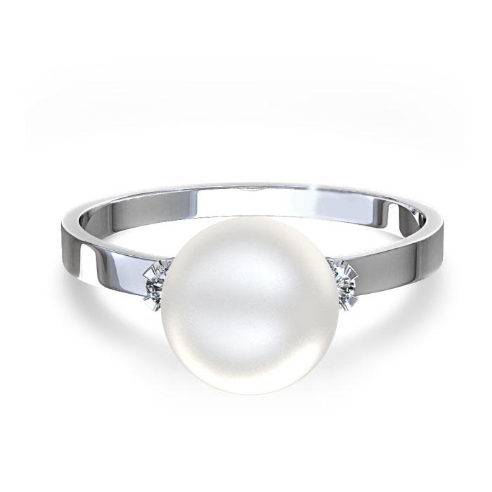 Anel com Diamantes e P�rola Branca com Detalhes em Diamantes