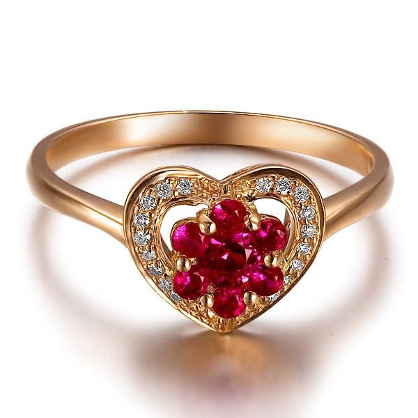 Anel Com Gotas de Rubi Sint�tico e Diamantes