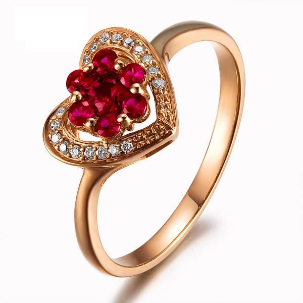 Anel Com Gotas de Rubi Sintético e Diamantes