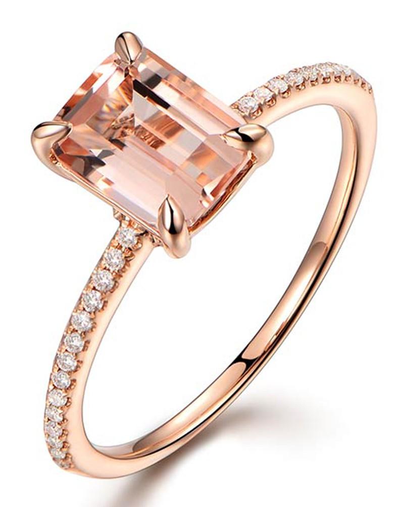 Anel com Morganita de Formatura com Diamantes