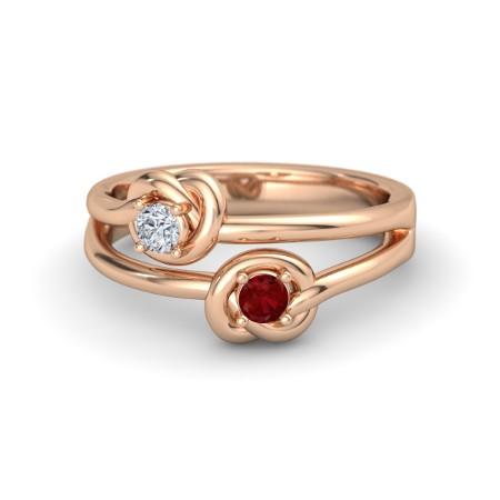 Anel com N� de Rubi e Diamante em Ouro Rose