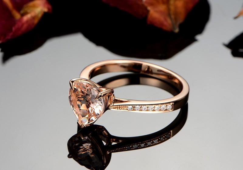 Anel Cora��o de Cristal com Diamantes