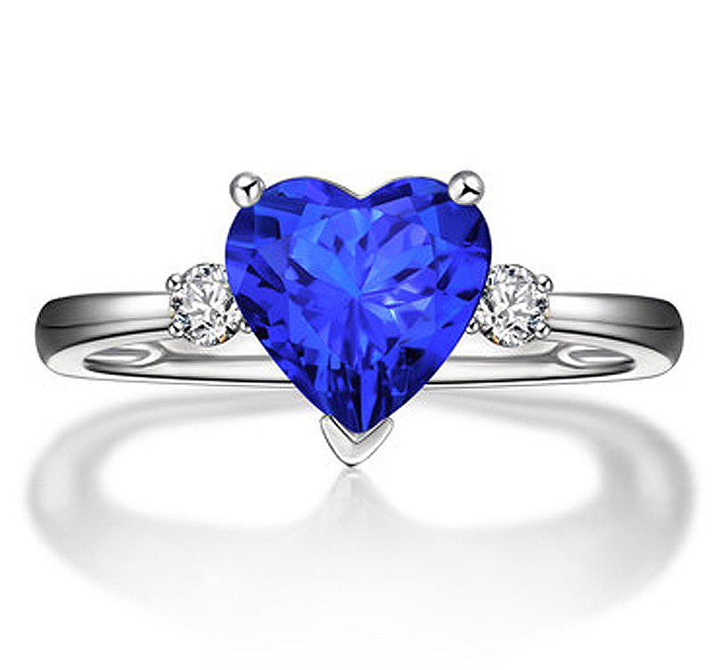 Anel Cora��o Safira Azul com Diamantes