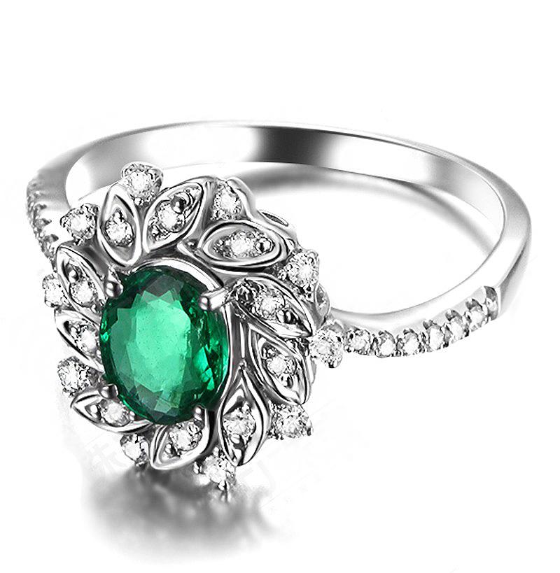 Anel de Formatura Esmeralda com P�talas de Diamantes
